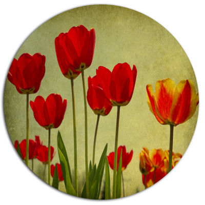 Design Art Grunge Flowers Background Floral MetalCircle Wall Art