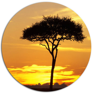 Design Art Beautiful Sunset Through Acacia Tree African Landscape Metal Circle Wall Art
