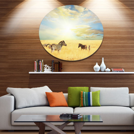 Design Art Sunset over Grassland with Zebras African Landscape Metal Circle Wall Art