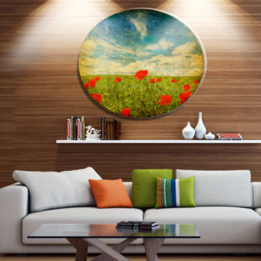 Design Art Sky Background with Red Poppies FloralMetal Circle Wall Art
