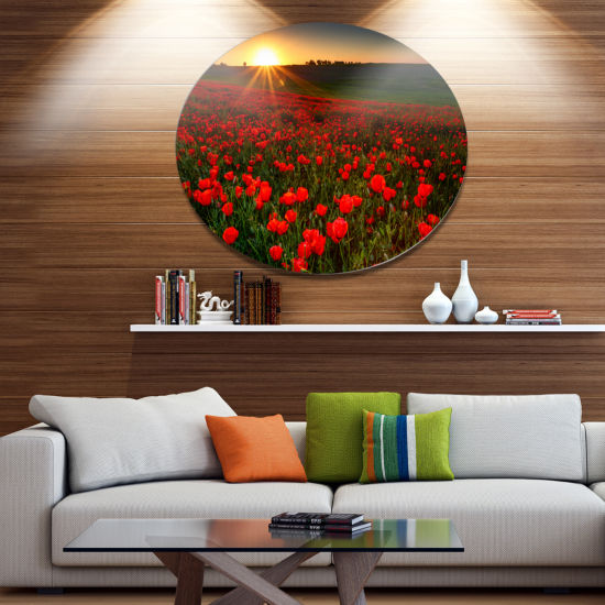Design Art Sunset over Garden with Red Poppies Floral Metal Circle Wall Art
