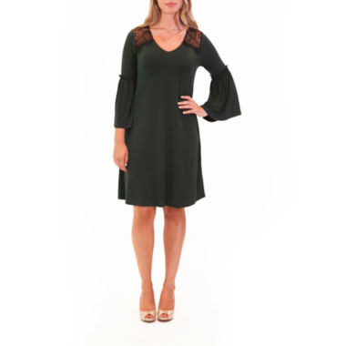 Nina Leonard Bell Sleeve And Lace Dress