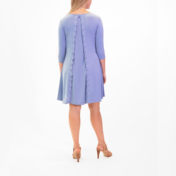 Nina Leonard Back Laced Edge Dress