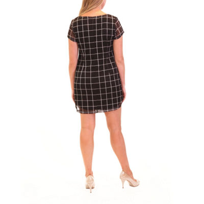 Nina Leonard Grid Sheath Dress