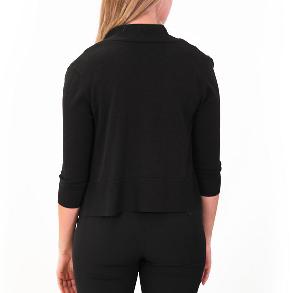 Nina Leonard 3/4 Sleeve Knit Bolero With Zipper
