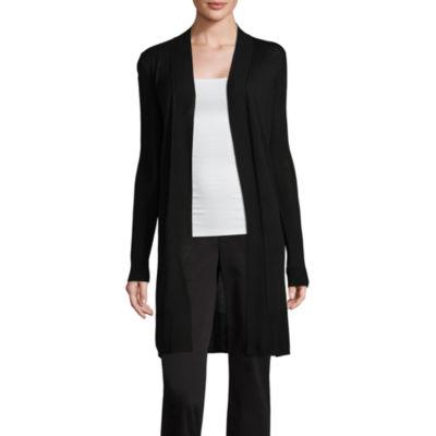 Worthington Long Sleeve Open Front Cardigan-Petite