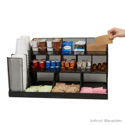 Mind Reader 14 Compartment 3 Tier Large Breakroom Condiment Organizer, Black Metal Mesh