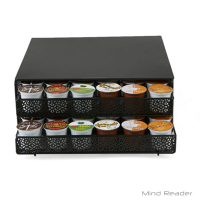 Mind Reader 72 Capacity Double K-Cup Storage Tray with Flower Pattern Metal Mesh, Black