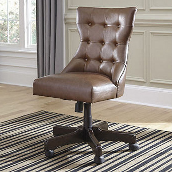 Signature Design By Ashley On Tufted Faux Leather Home Office Swivel Desk Chair