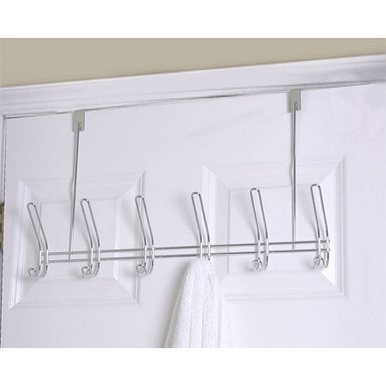 Home Basics 6-Hook Chrome Over-The-Door Hanging Rack