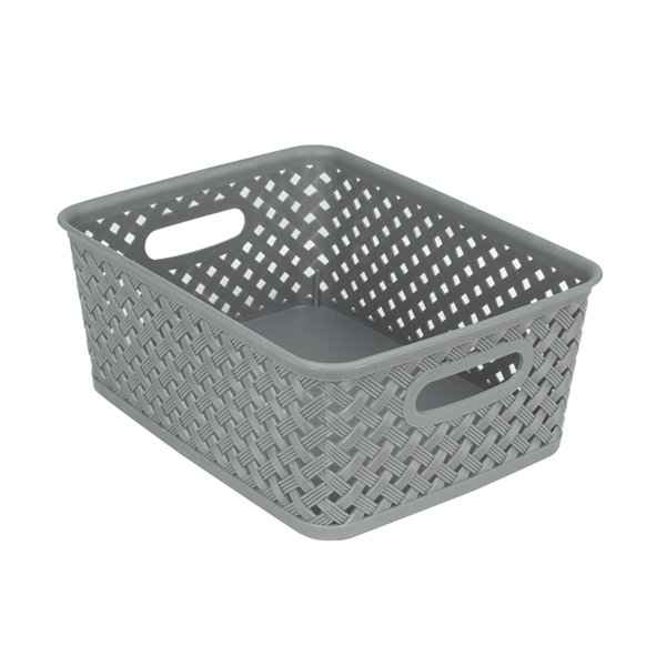 Home Basics Small Rattan Open Plastic Basket