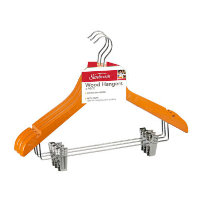 Sunbeam Wood Hanger With Metal Clips, Pack of 3