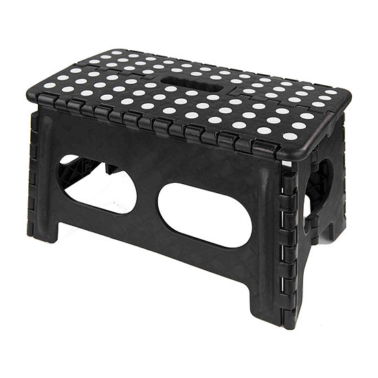 Home Basics Folding Stool with Non Slip Grip Dots and Carrying Handle
