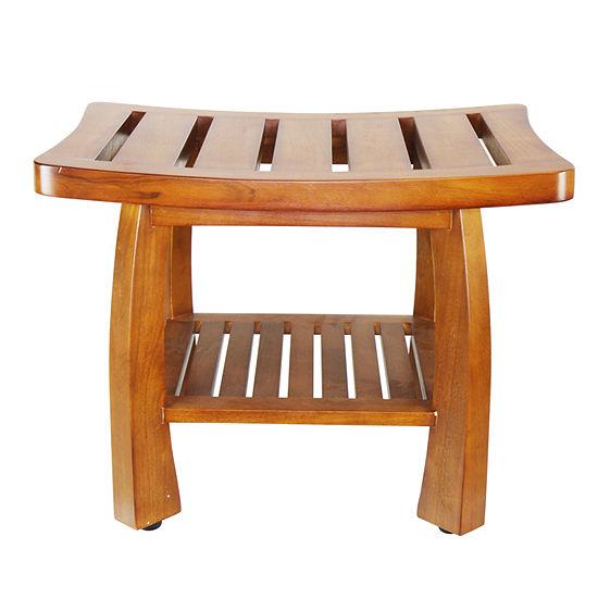 Oceanstar® Solid Teak Wood Spa Bench with Storage Shelf