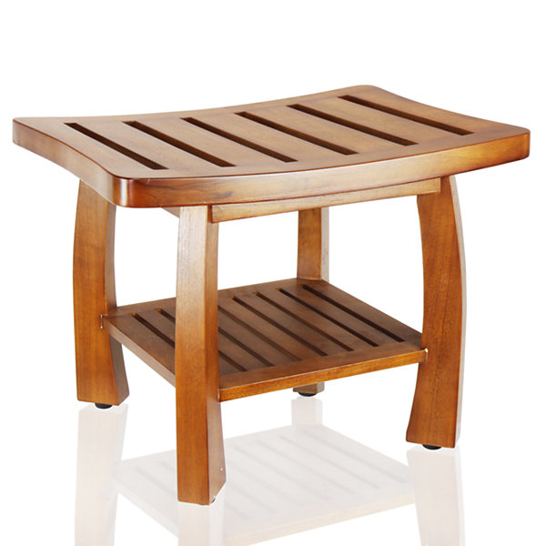 Oceanstar® Solid Teak Wood Spa Bench with Storage Shelf