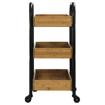 Oceanstar® Portable Storage Cart with 3 Easy Removable Bamboo Trays
