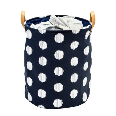 Honey-Can-Do® Coastal Collection Decorative Portable Laundry Bin, Navy and Grey Dot