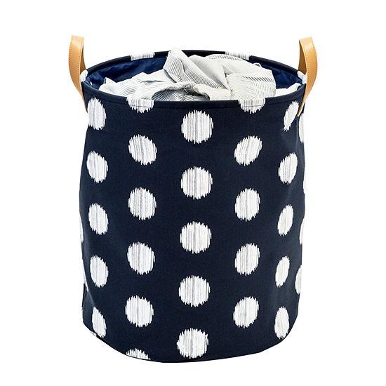 Honey-Can-Do® Coastal Collection Decorative Portable Laundry Bin, Navy and Grey Dot