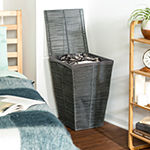 Honey-Can-Do® Coastal Collection Laundry Hamper with Lid, Cool Grey