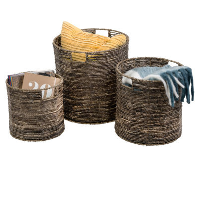 Honey-Can-Do® Coastal Collection Nesting Storage Bins with Grab Handles, Set of 3, Brown Maize