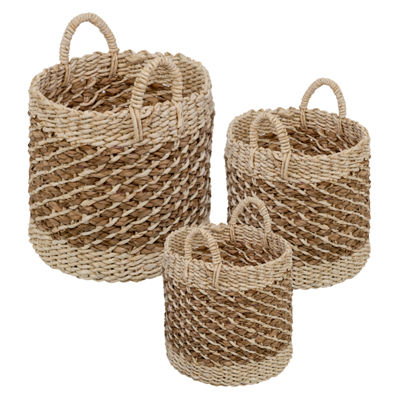 Honey-Can-Do® Coastal Collection Nesting Storage Bins with Grab Handles, Set of 3, Natural Weave