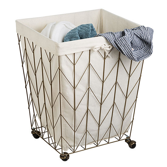 Honey-Can-Do® Coastal Collection Decorative Rolling Hamper, Bronze