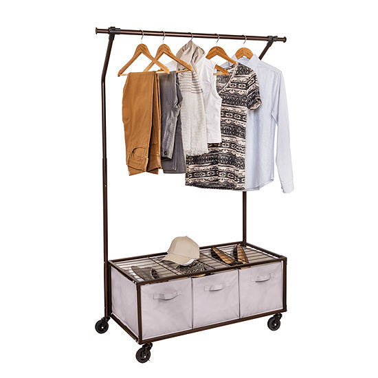 Honey Can Do Garment Rack With Bins Bronze