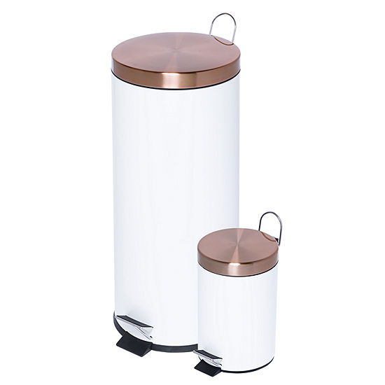 Honey-Can-Do® Round 30L & 3L Soft-Close Combo, White & Rose Gold