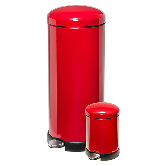 Honey-Can-Do® 30L & 3L Round Trash Can Combo - Red