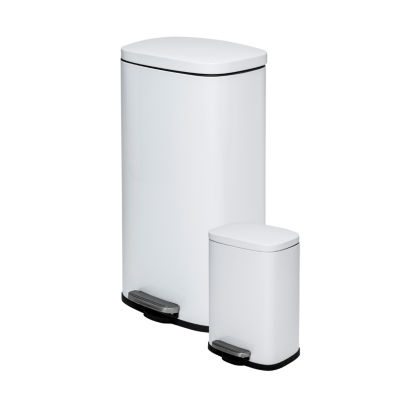 Honey-Can-Do® 30L & 5L Rectangular Trash Can Combo White