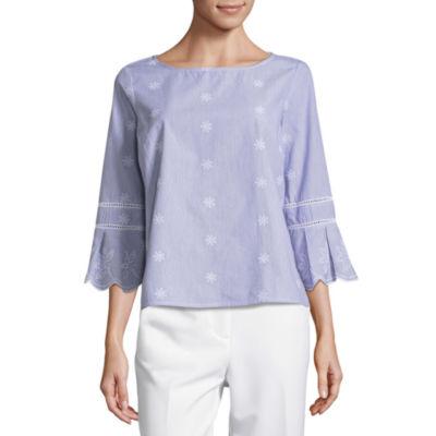 Liz Claiborne Scalloped Sleeve Embroidered Shirt