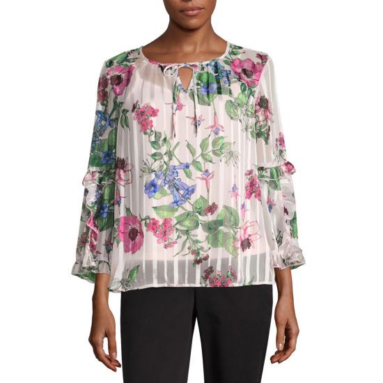 Liz Claiborne Ruffled Sleeve Floral Peasant Top