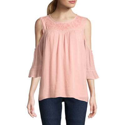 St. John's Bay Elbow Sleeve Round Neck Eyelet Embellished Ruffled Blouse