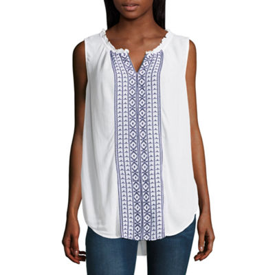 Liz Claiborne Sleeveless Split Crew Neck Embroidered Blouse