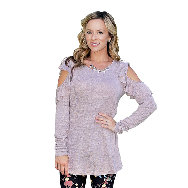 Mayah Kay Fashion Ruffled Open Shoulder Tunic