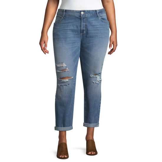 Boutique + Medium Wash Ripped Girlfriend Crop Jean - Plus