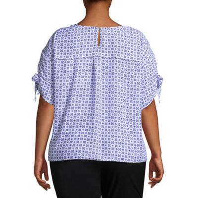 Worthington Short Tie Sleeve Scoop Neck Woven Blouse - Plus