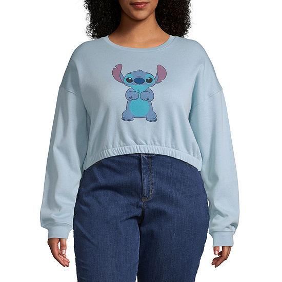 Womens Crew Neck Long Sleeve Lilo & Stitch Sweatshirt Juniors Plus