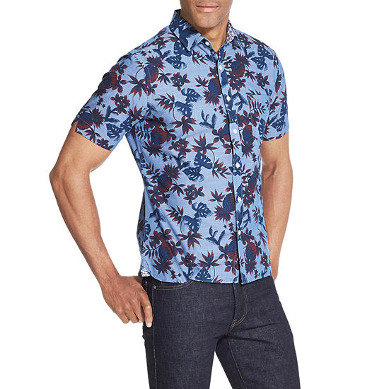 Van Heusen Never Tuck Mens Short Sleeve Leaf Button-Front Shirt Slim