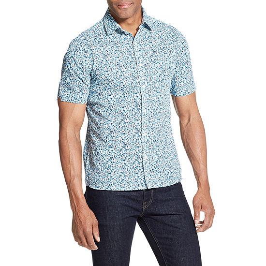 Van Heusen Never Tuck Short Sleeve Button-Front Slim Fit Shirt