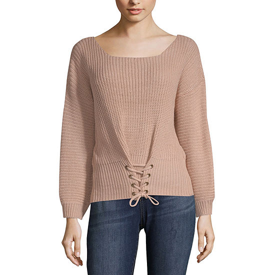 Say What Womens Laceup Sweater- Juniors