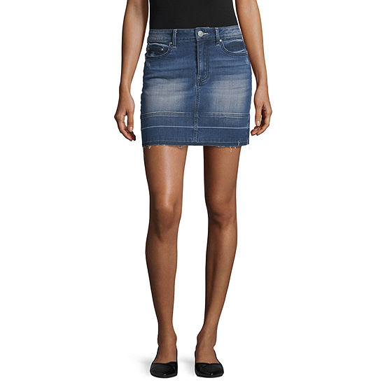 Almost Famous Womens Mid Rise Short Denim Skirt-Juniors