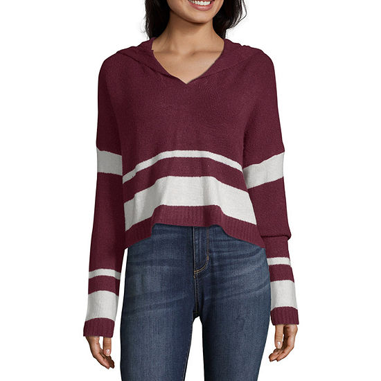 Say What Womens Long Sleeve Knit Hoodie-Juniors