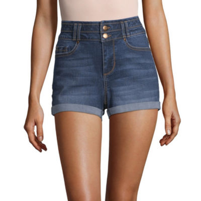 "Blue Spice Womens High Waisted 2 1/2"" Denim Short-Juniors"