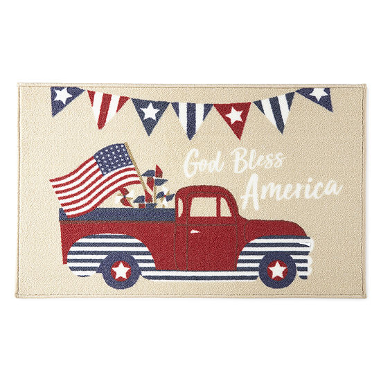 JCPenney Home Americana God Bless America Truck Rug