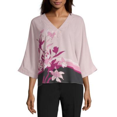 Worthington Womens V Neck 3/4 Sleeve Blouse