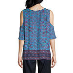 St. John's Bay Womens Round Neck Elbow Sleeve Peasant Top