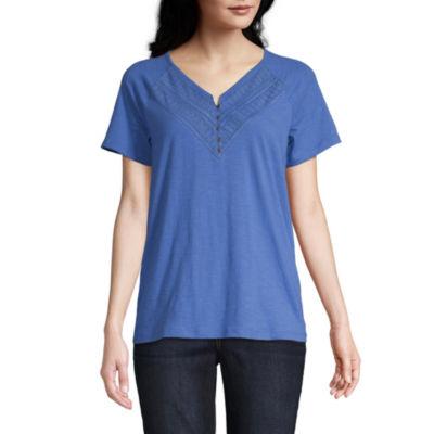 St. John's Bay Womens V Neck Short Sleeve Henley Shirt