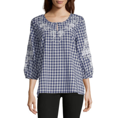 Liz Claiborne Womens Scoop Neck 3/4 Sleeve Blouse