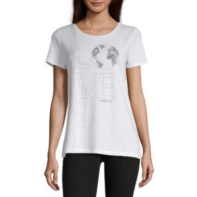 Liz Claiborne Womens Crew Neck Short Sleeve Graphic T-Shirt